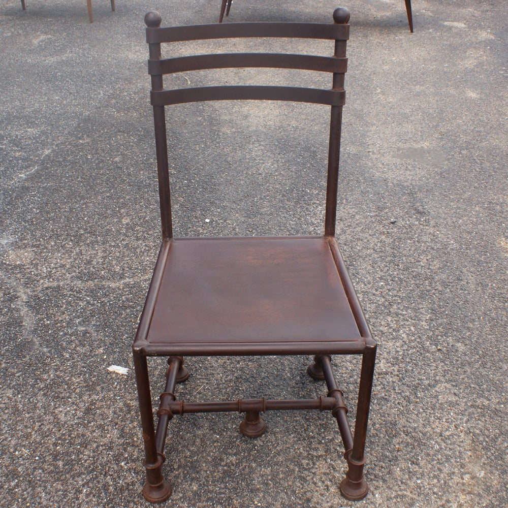 this six industrial machine age style steel dining chairs is no longer