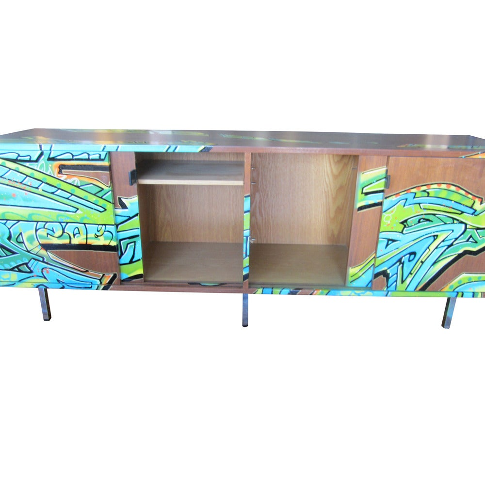 Retro Credenza Vintage Florence Knoll Credenza With Graffiti By Artist Gonzo247