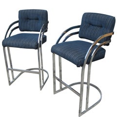Vintage Pair of Cal-Style Chrome Cantilever Stools, after Arthur Umanoff