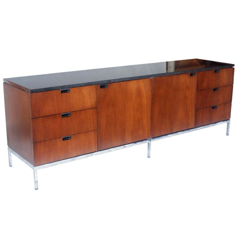florence knoll for knoll mahogany and granite credenza at. Black Bedroom Furniture Sets. Home Design Ideas