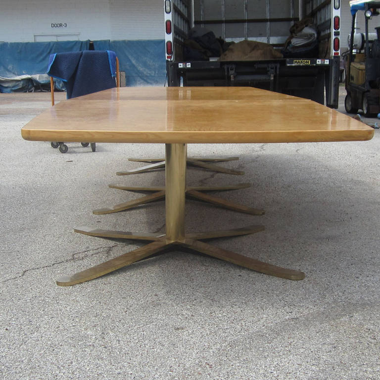 A Vintage 16 Foot Zographos Conference Table With A Custom Made Maple Top.  A Very