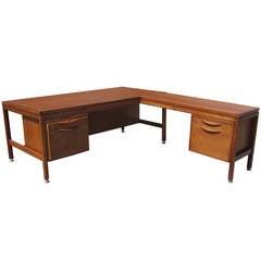 Vintage Jens Risom Executive Teak Desk with Return