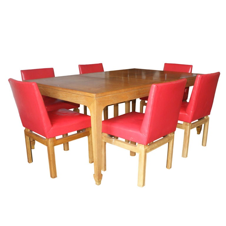 Wood Six Dining Chairs by Michael Taylor for Baker For Sale