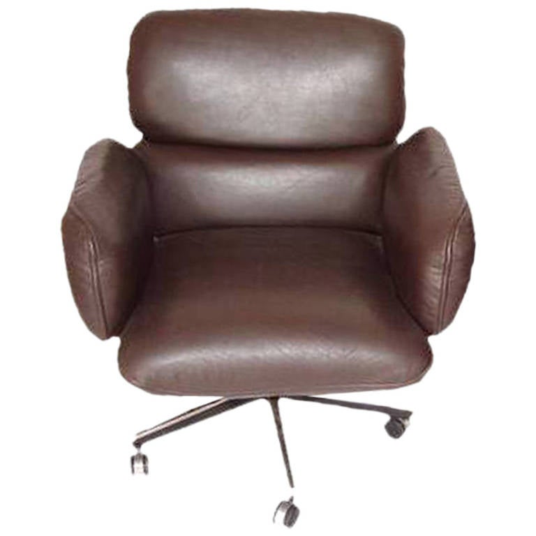 Mid century modern knoll zapf chair in brown leather for for Mid century modern leather chairs
