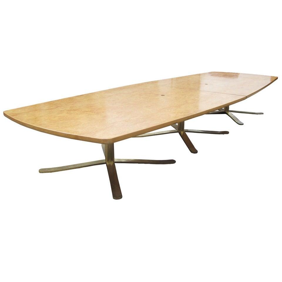 16ft Vintage Birdseye Maple Zographos Conference Table For Sale