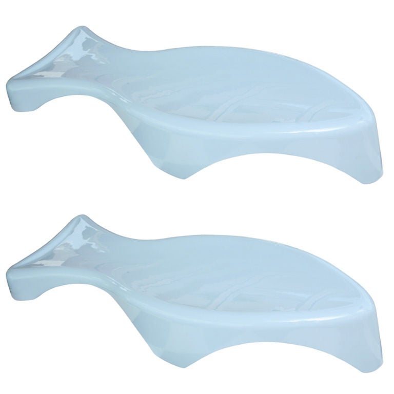 Pair of Fiberglass Fish Shaped Chaise Lounges