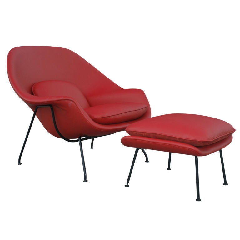 eero saarinen for knoll red leather womb chair and ottoman at 1stdibs. Black Bedroom Furniture Sets. Home Design Ideas