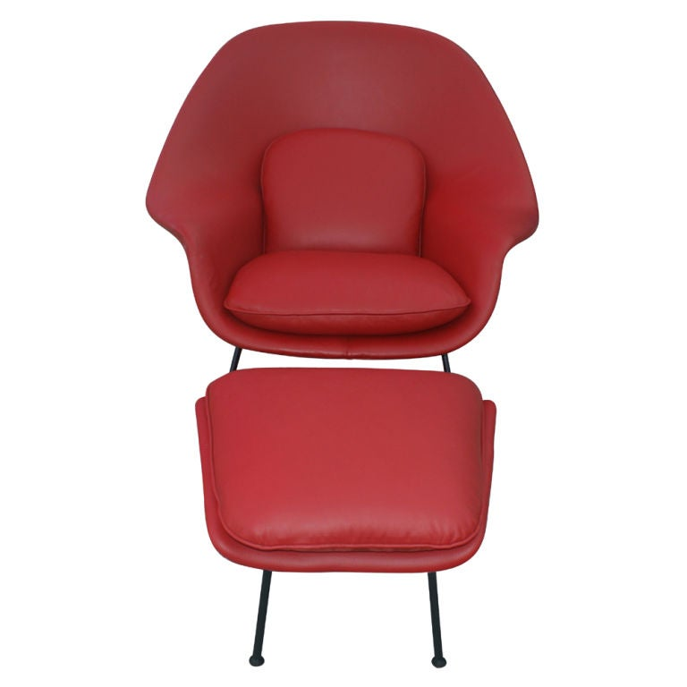 eero saarinen for knoll red leather womb chair and ottoman at 1stdibs