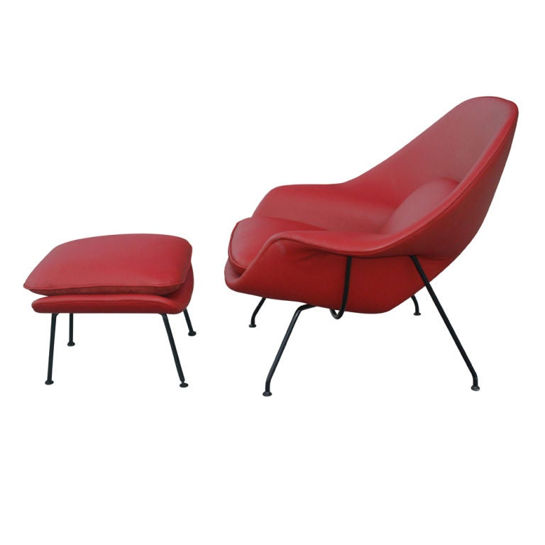 eero saarinen for knoll red leather womb chair u0026 ottoman 3