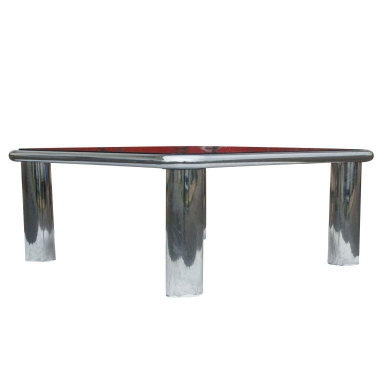 Mario Bellini For Bu0026B Italia Mirrored Chrome Coffee Table 3