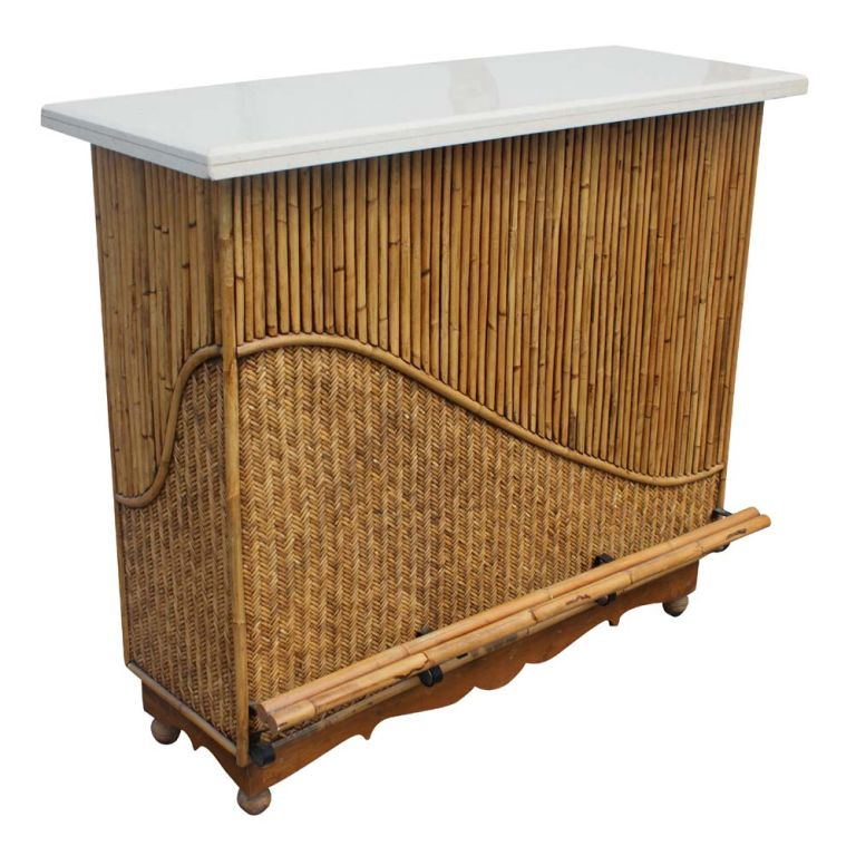 Rattan Granite Top Bar With Two Stools image 2