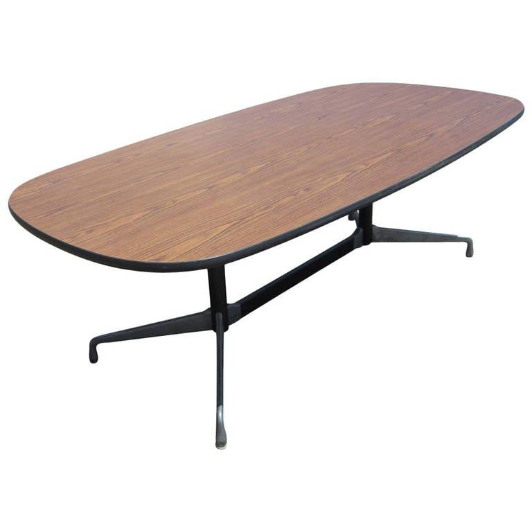Vintage Herman Miller Eames Aluminum Group Racetrack Conference - Eames oval conference table