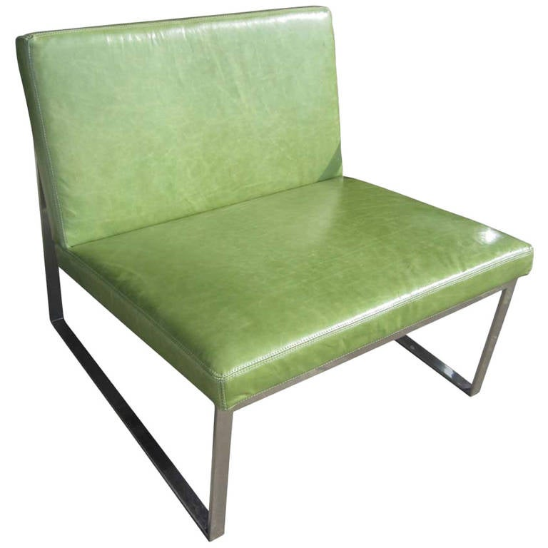 B.2 Lounge Chair Designed by Fabien Baron for Bernhardt in Green Patent Leather
