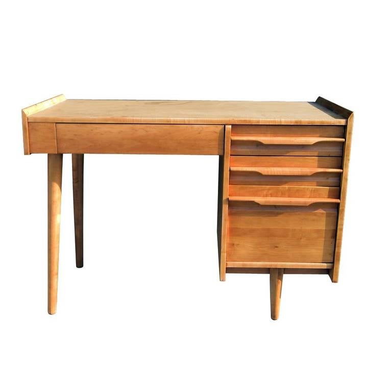 Vintage Midcentury Solid Maple Single Pedestal Desk By Crawford Furniture 2