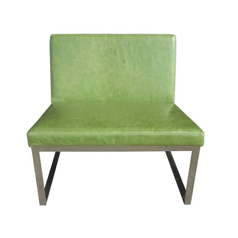 Mid-Century Modern B.2 Lounge Chair Designed by Fabien Baron for Bernhardt in Green Patent Leather For Sale