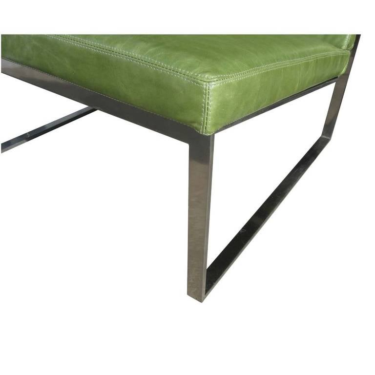B.2 Lounge Chair Designed by Fabien Baron for Bernhardt in Green Patent Leather In Good Condition For Sale In Pasadena, TX