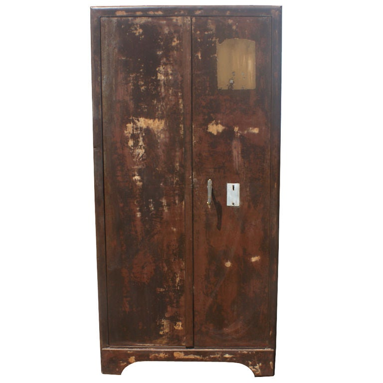 Vintage French Industrial Patinated Steel Cabinet