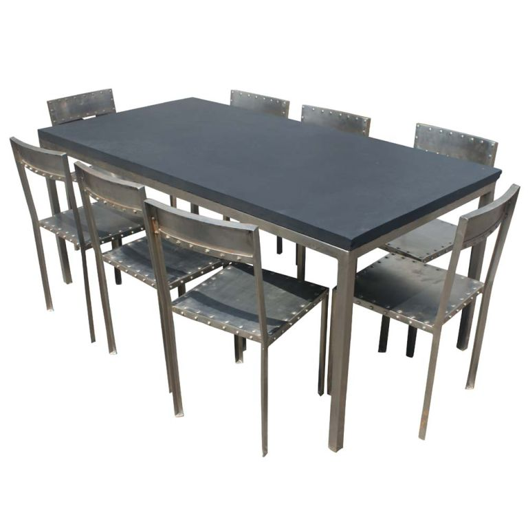 Slate Dining Room Table: Industrial Steel And Slate Dining Work Table Image 4