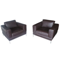 Pair of Modern Brown Leather Lounge Chairs