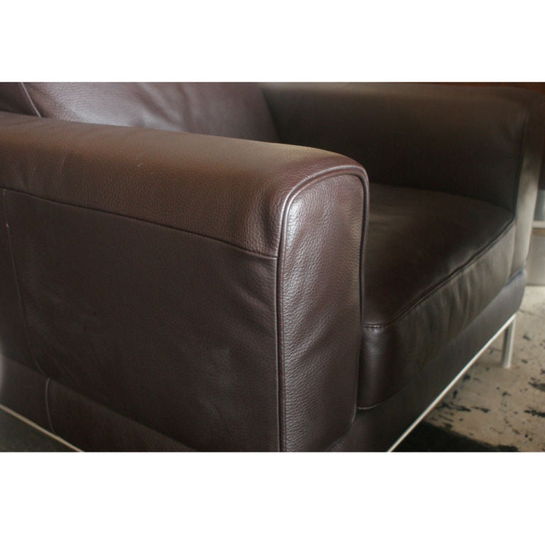 American Pair of Modern Brown Leather Lounge Chairs