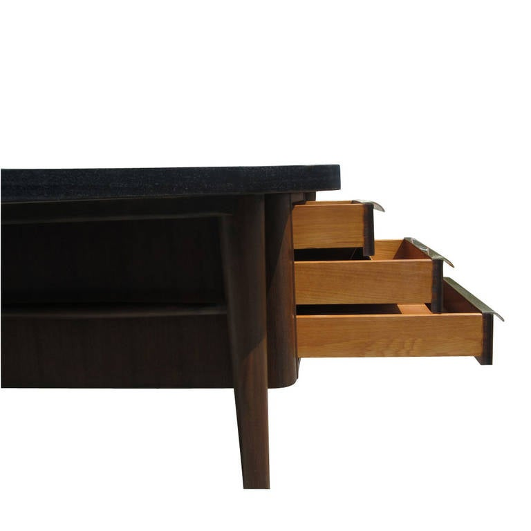American Vintage Stow Davis Desk with Ebonized Curved Top For Sale