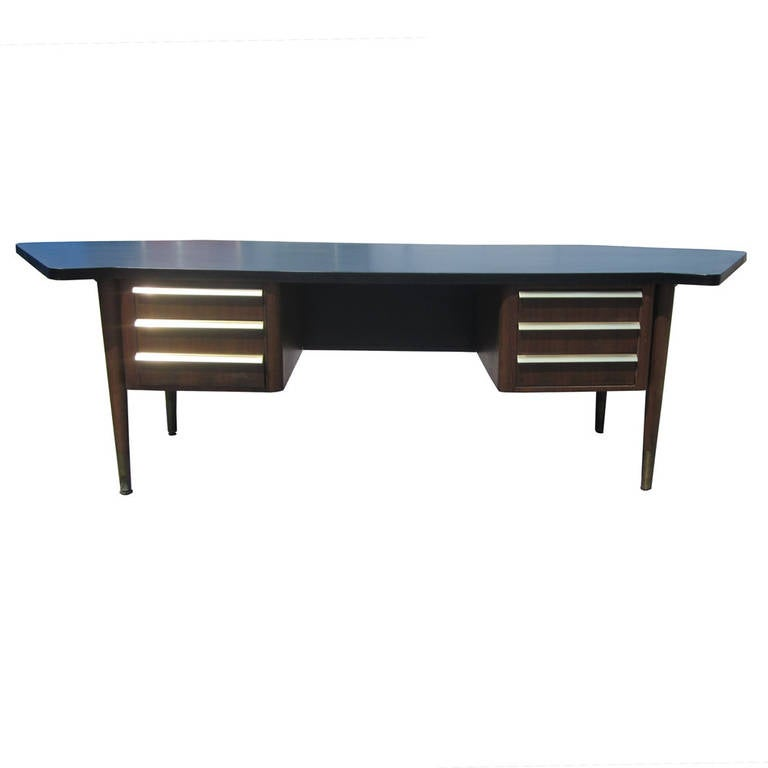Mid-20th Century Vintage Stow Davis Desk with Ebonized Curved Top For Sale