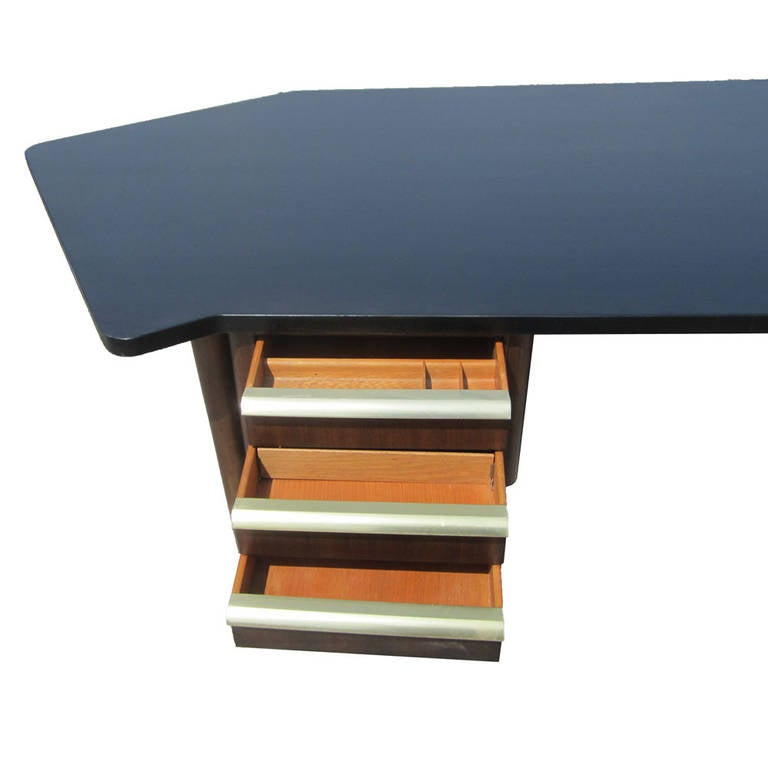 Vintage Stow Davis Desk With Ebonized Curved Top For Sale