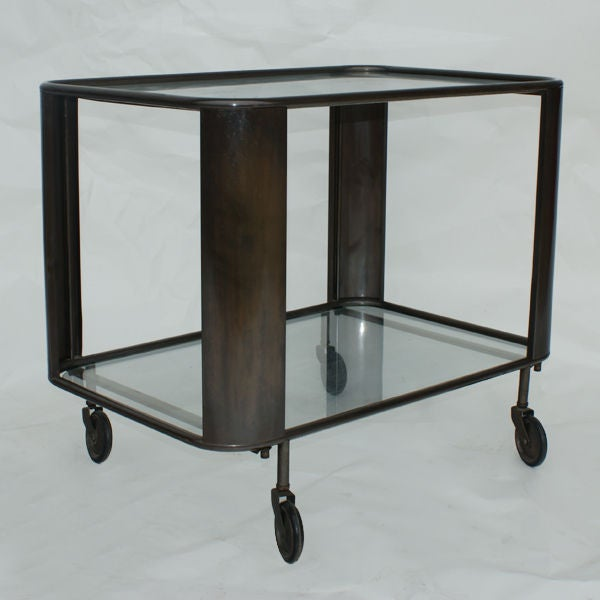 Bronze And Glass Serving Bar Cart At 1stdibs