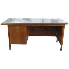 Vintage Stow Davis Walnut Single Pedestal Desk