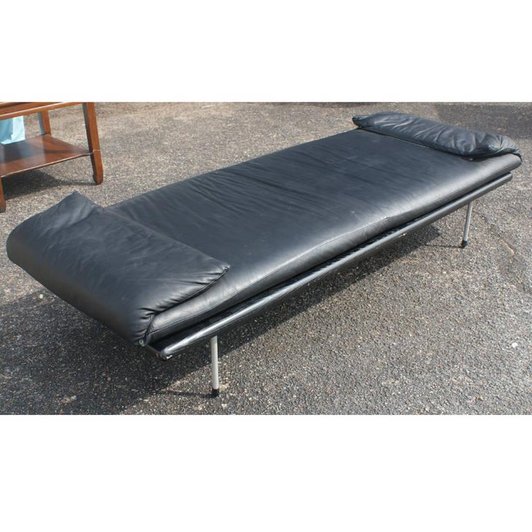 Vintage Brayton Black Leather Daybed Bench For Sale at 1stdibs