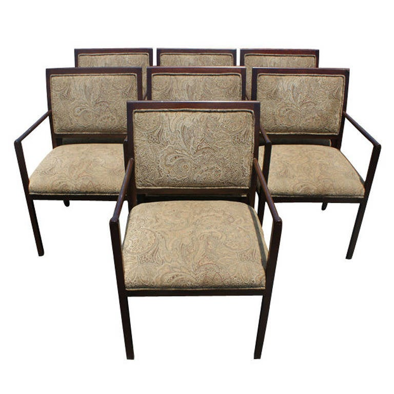 Set Of Seven Ward Bennett For Brickel Upholstered Arm Chairs