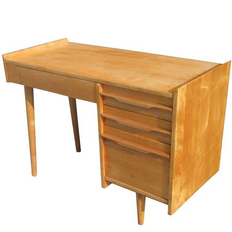 Vintage Midcentury Solid Maple Single Pedestal Desk By Crawford Furniture 1