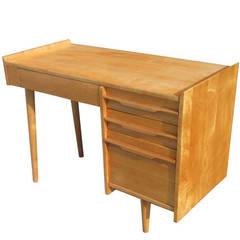 Vintage Midcentury Solid Maple Single Pedestal Desk by Crawford Furniture
