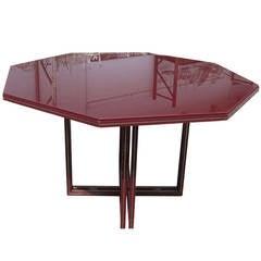"52"" Vintage Pierre Vandel Octagonal Glass Dining Table"