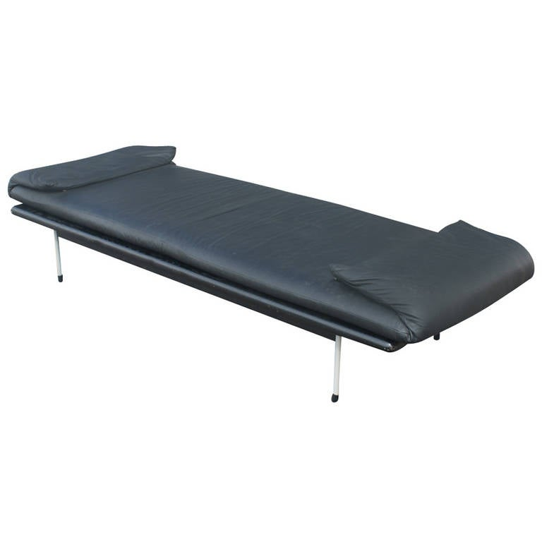Vintage Brayton Black Leather Daybed Bench For Sale At 1stdibs