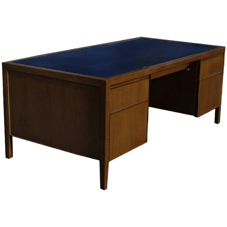 Vintage Stow Davis Chrome Trim Leather Top Desk