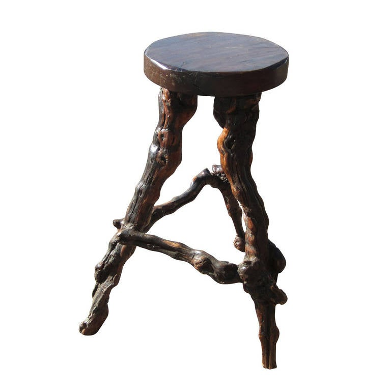 Vintage Grapevine Bar And Stools At 1stdibs