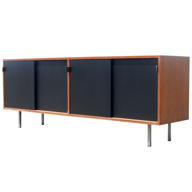 florence knoll for knoll walnut and ebonized credenza. Black Bedroom Furniture Sets. Home Design Ideas