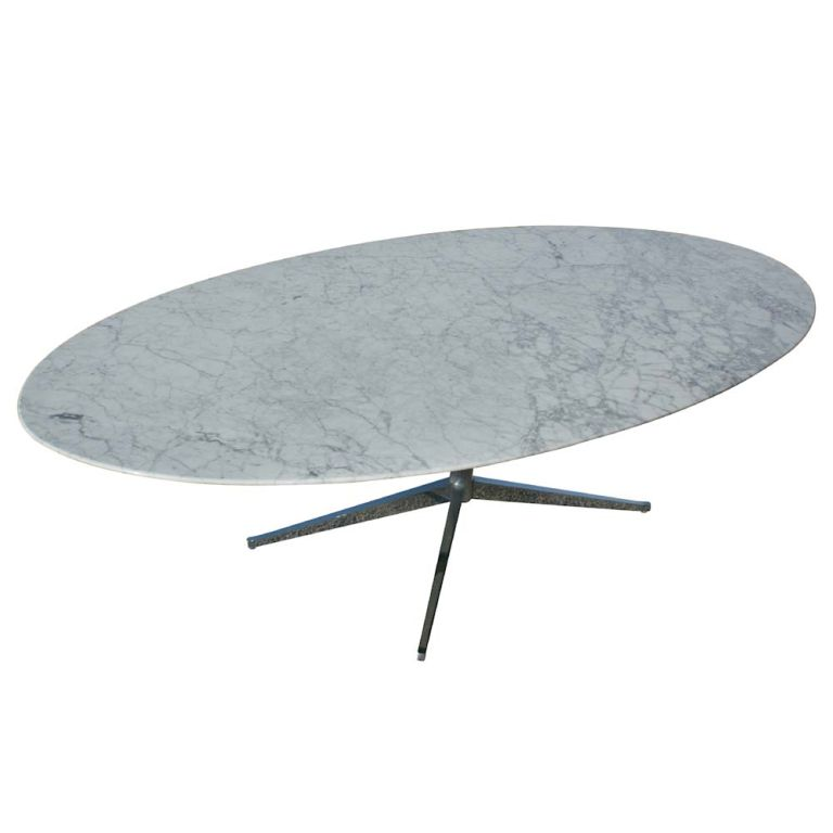 Florence Knoll For Knoll Oval White Marble Dining Table