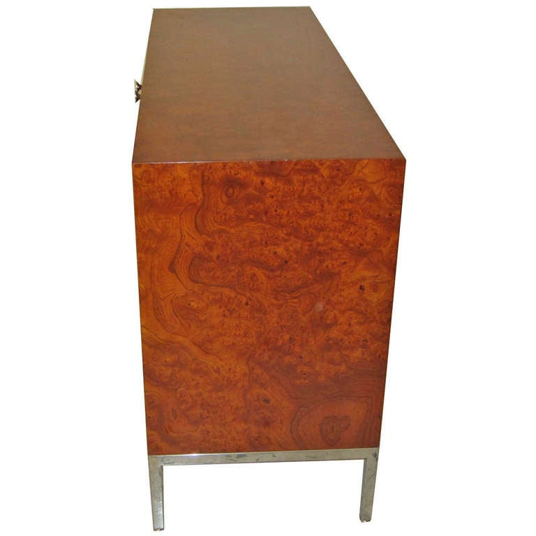 Pace Collection Burled Wood And Steel Cabinet At 1stdibs