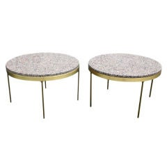 Pair Of Nicos Zographos Bronze And Granite Side Tables