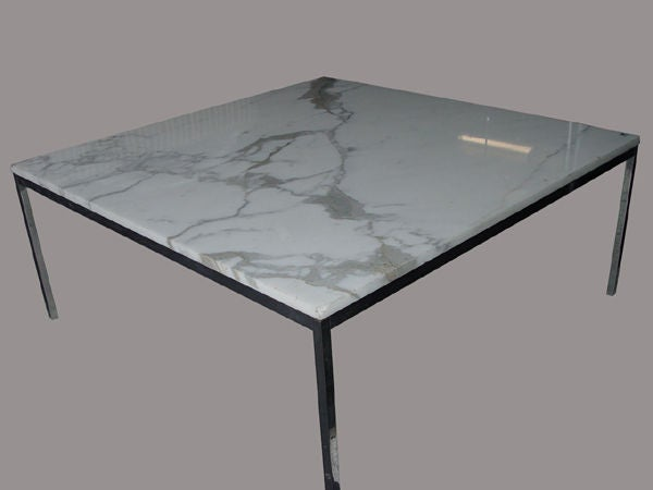 Florence Knoll For Knoll Large Marble And Chrome Coffee