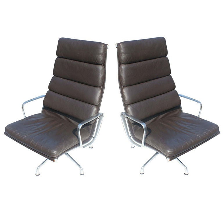 Eames Soft Pad Lounge Chair pair of eames for herman miller soft pad lounge chairs at 1stdibs