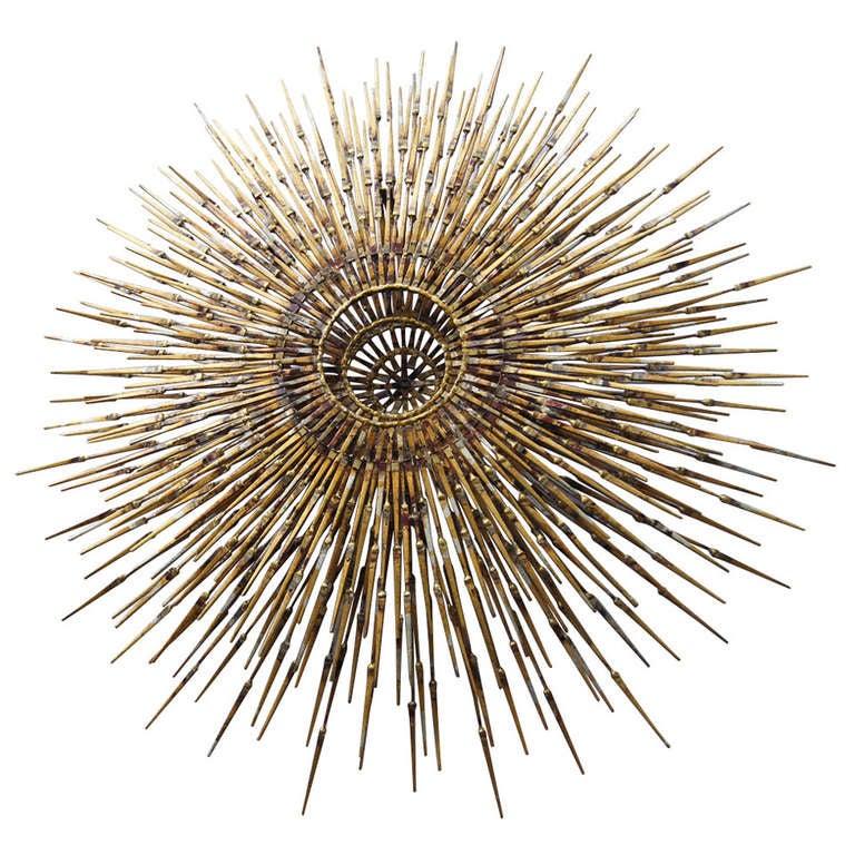 william bowie sunburst wall sculpture at 1stdibs. Black Bedroom Furniture Sets. Home Design Ideas
