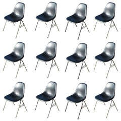 (12) Herman Miller Eames Black Side Shell Chairs