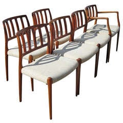 (6) Danish Mid Century Niels Moller # 83 Rosewood Dining Chairs