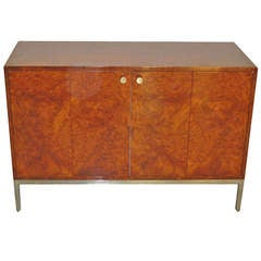 Pace Collection Burled Wood and Steel Cabinet