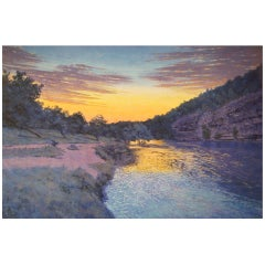 "Tim Saska ""Sunset on the Guadalupe"" Acrylic on Canvas, Signed"