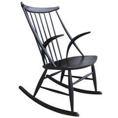 Vintage Sculpture Rocking Chair by Illum Wikkelso