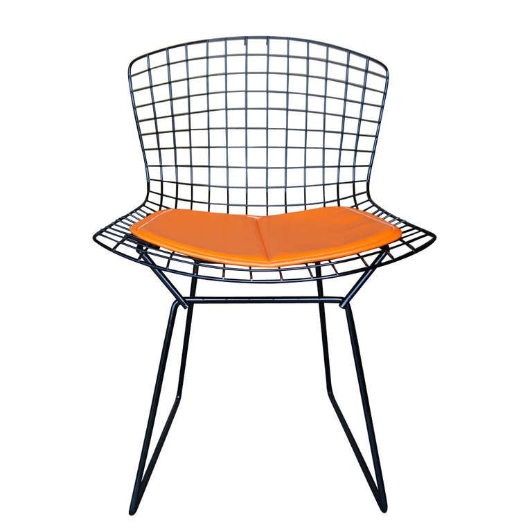 Vintage Harry Bertoia For Knoll Black Side Chair 3